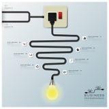 Elektrisk trådlinje affär Infographic för ljus kula stock illustrationer