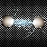 Elektrisk urladdning mellan järnet klumpa ihop sig på en genomskinlig bakgrund Royaltyfri Foto