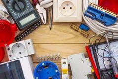 Elektrisk utrustning för installation av elektriska system royaltyfri fotografi