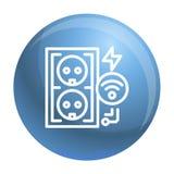 Elektrisk uttagsymbol, översiktsstil stock illustrationer
