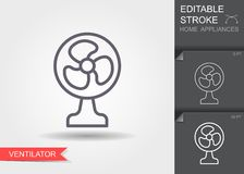 elektrisk ventilator Linje symbol med den redigerbara slagl?ngden med skugga royaltyfri illustrationer