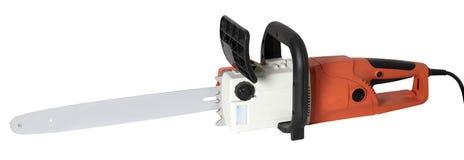 Elektrisk yrkesmässig chainsaw som isoleras på vit bakgrund arkivbild