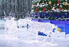 Elektriska deers på jul, Moscow Royaltyfri Foto