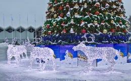 Elektriska deers på jul, Moscow Arkivfoton