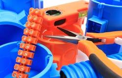 Elektriska delar för bruk i elektriska installationer Royaltyfri Foto