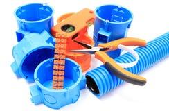 Elektriska delar för bruk i elektriska installationer Royaltyfria Foton