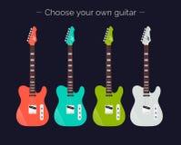 Elektriska gitarrer av den olika färguppsättningen Vektorgitarrer Välj din egen gitarr Royaltyfria Bilder