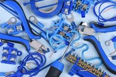 Elektriska hjälpmedel och del- sats som används i elektriska installationer Fotografering för Bildbyråer