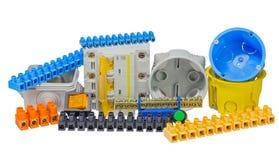 Elektriska hjälpmedel och del- sats som ska användas i elektrisk installa Arkivbild
