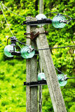 Elektriska isolatorer och trådar på konkret pol royaltyfri bild