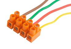 Elektriska kablar med terminaler Arkivbild
