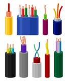 Elektriska kablar uppsättning, anslutningstrådar i mång- kulör isoleringsvektorillustration vektor illustrationer