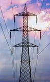 elektriska linjer ström Arkivbild