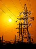 elektriska linjer ström Fotografering för Bildbyråer