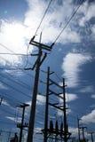 elektriska moonnattpoler Royaltyfri Fotografi