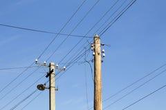 Elektriska poler, höga spänningstrådar Royaltyfri Fotografi