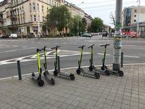 Elektriska sparkcyklar som väntar för att användas royaltyfria bilder