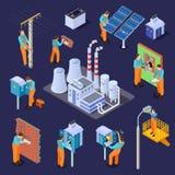 Elektriska station och elektriker, isometrisk vektoruppsättning för arbetare royaltyfri illustrationer