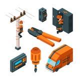 Elektriska system 3d Arbetare för säkerhet för elektriker för elektricitetsaskströmbrytare med den isometriska vektorn för makthj vektor illustrationer
