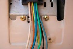 Elektriska trådar i hårbalsamcloseupen - bild royaltyfria foton