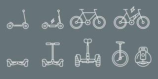 Elektriska transportsymboler - ställ in rengöringsduk och mobil 01 vektor illustrationer