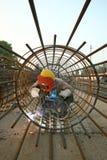 Elektriska welders i en konstruktionsplats Fotografering för Bildbyråer