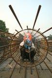 Elektriska welders i en konstruktionsplats Royaltyfria Bilder