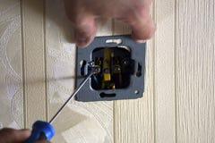 Elektriskt arbete i rummet Fotografering för Bildbyråer
