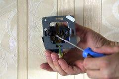 Elektriskt arbete i rummet Royaltyfri Bild