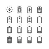Elektriskt batteri, telefon som laddar den tunna linjen vektorsymboler stock illustrationer