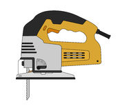 Elektriskt hjälpmedel för snickeripimpelsåg färg stock illustrationer