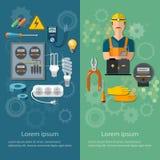 Elektriskt hjälpmedel för yrkesmässig elektrisk banerelektricitetsenergi royaltyfri illustrationer