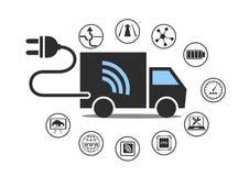 Elektriskt lastbilsymbol med maktproppen och olika symboler royaltyfri illustrationer