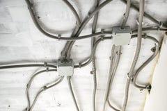 Elektriskt ledningsnät för yrkesmässigt utkast i hus eller lägenhet under reparationen, installation av föreningspunktasken, hög  royaltyfria bilder