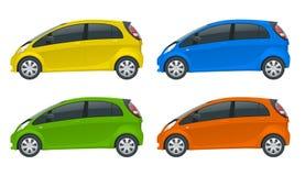 Elektriskt medel eller hybrid- bil Electromobility e-rörelse Eco-vänskapsmatch högteknologisk automatisk Lätt färgändring Mallvek royaltyfri illustrationer
