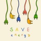 Elektriskt plugga in färg energi sparar vektor illustrationer
