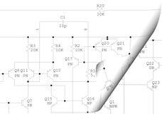 elektriskt schema för krullningsdiagram Arkivbilder