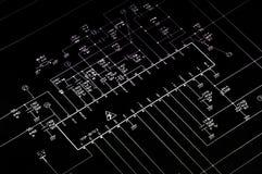 Elektriskt shematic diagram. Arkivfoton