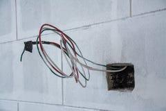 Elektriskt system på väggen i konstruktionsplatsen, uttag med järnrör Arkivfoto