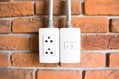 Elektriskt uttag på en vägg Royaltyfri Bild
