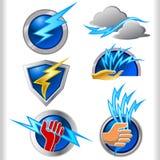 Elektrizitäts-Energie-Symbole und Ikonen eingestellt Stockfotografie