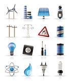 Elektrizitäts-, Leistung- und Energieikonen Stockfotografie