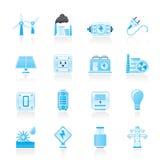 Elektrizitäts-, Leistung- und Energieikonen Stockbild