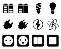 Elektrizitäts- und Energieikonenset Lizenzfreies Stockbild