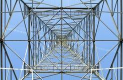 Elektrizitätsgondelstiel in der Perspektive Stockfotos