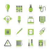 Elektro apparaten en materiaalpictogrammen Stock Afbeelding