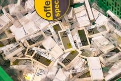 Elektro tarifering voor goederen in de supermarkt Pam royalty-vrije stock foto's