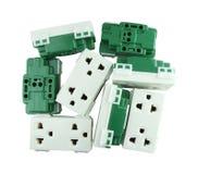 Elektroafzet (contactdoosstop) op witte achtergrond Royalty-vrije Stock Foto's