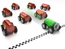 Elektroauto- und Gasautorennen Stockfotos