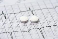 Elektrocardiograaf en Aspirin Stock Foto's